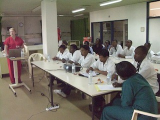 Rwandan nurses, midwives, and residents learning S.T.A.B.L.E. for the first time at King Faisal Hospital in Kigali, Rwanda.